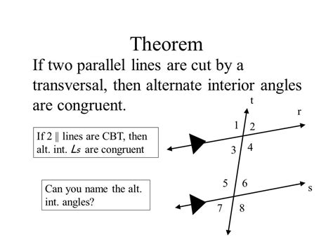 Definition Of Alternate Interior Angles Theorem by Warm Up Open Book To Page 73 Read All Of The 3 1 Section Ppt