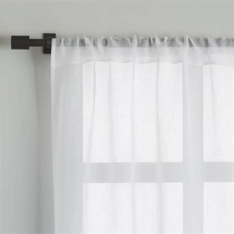 white sheer linen curtains sheer linen curtain white west elm