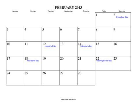 Feb 2013 Calendar February 2013 Calendar