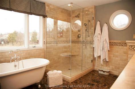 Master Bathrooms Ideas beveled durango travertine with emperador dark marble