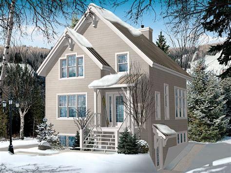 Chalet House Plans   Narrow Lot Mountain Home Plan makes a