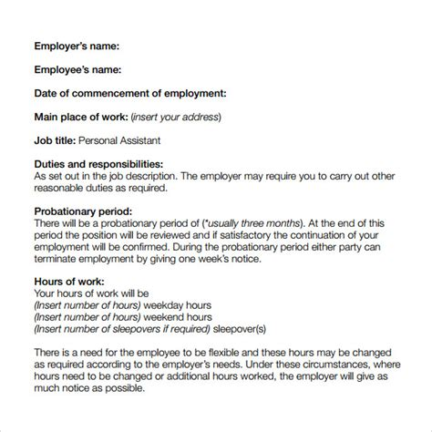 basic contract of employment template sle basic contract template 13 free sle exle