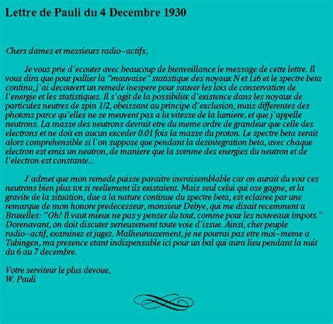 Exemple De Lettre Humoristique Histoire Du Neutrino Neutrino History