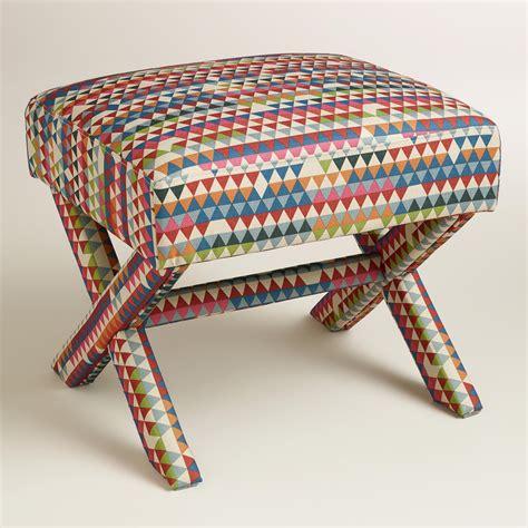 X Base Stool Upholstered by Park Brendan Upholstered X Base Stool World Market