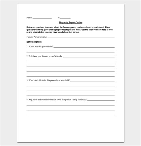 biography template pdf biography outline template 15 formats sles and exles