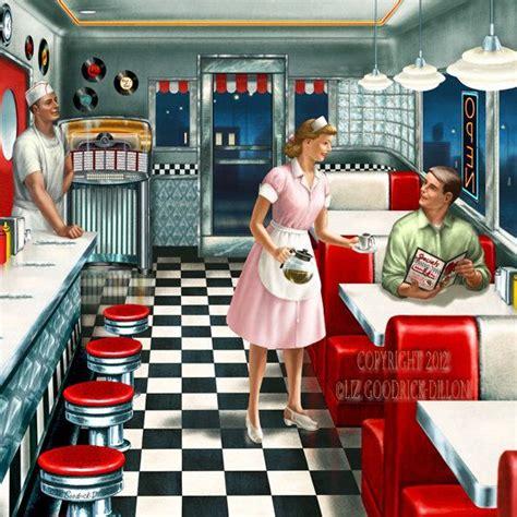 retro dinner lgd241b 50 s diner 12 x12 print by lgd1studios on etsy