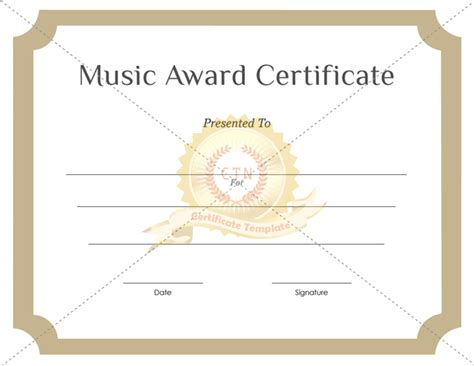 templates for music certificates music award certificate template certificate template