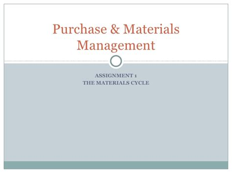Purchase Materials Management Ppt Purchase Presentation