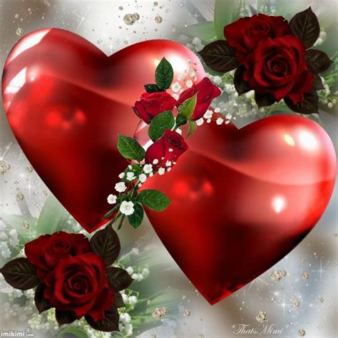 love you heart and roses some red roses and two big red hearts heart love