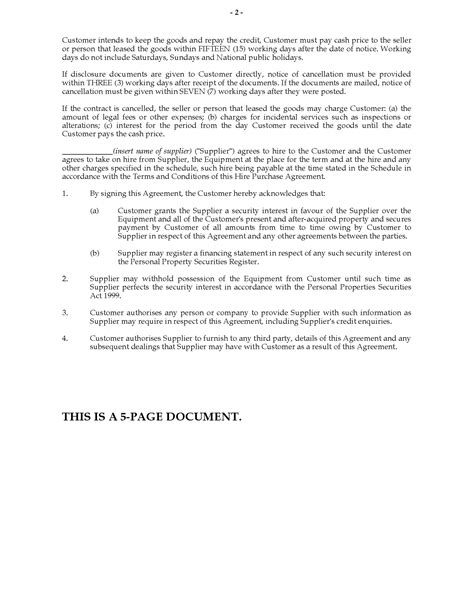 Sle Agreement Letter For Hire Purchase New Zealand Equipment Hire Purchase Agreement Form Forms And Business Templates