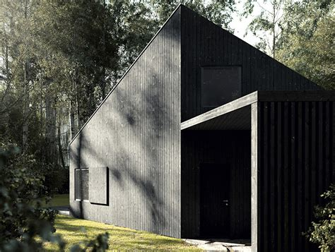 in house all black house in poland is clad in sustainably harvested