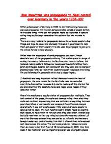 Propaganda Essay by How Important Was Propaganda To Germany In The Years 1934 39 Gcse History