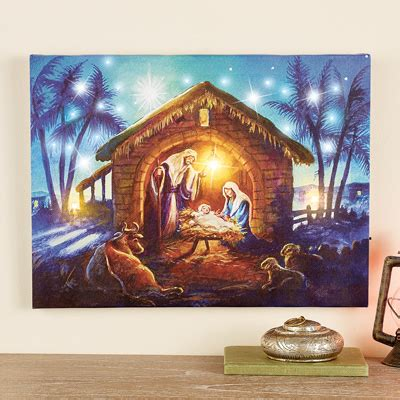 nativity bunny led fibre optic nativity lighted wall canvas from collections etc