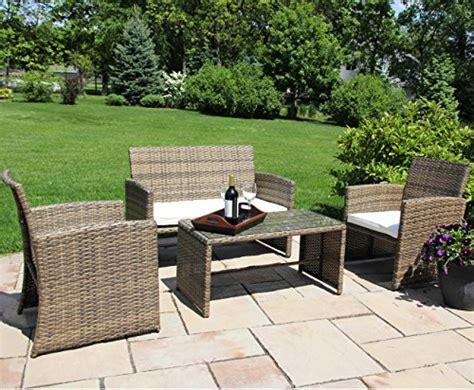 skid patio furniture ecolinear 4pc rattan sofa cushion seat garden patio lawn
