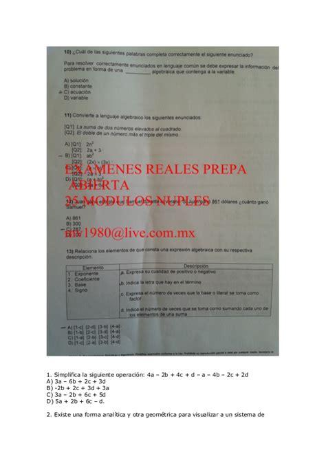 examenes prepa abierta plan 33 y 22 modulos nuiples plan 22 modulos representaciones simbolicas y