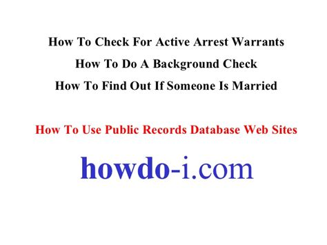 California Active Warrants Search How To Check For Active Arrest Warrants