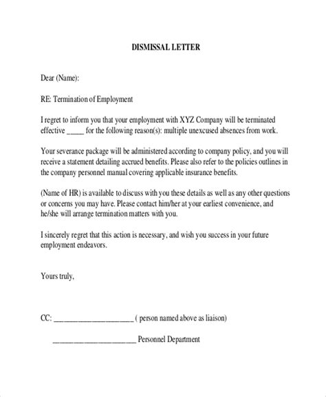 Termination Letter Format For Absence Sle Employee Termination Letter 8 Exles In Word Pdf
