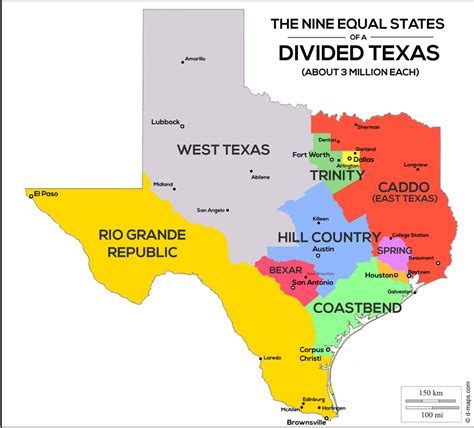 show texas map the united states of texas map shows texas divided into 9 states