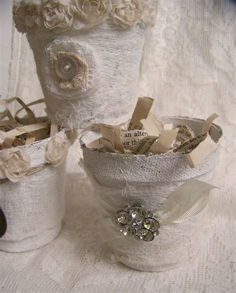 Pot Shabby set of 3 altered peat pot shabby white decor altered by queenbe i