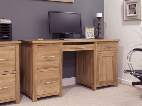 Eton Solid Oak Modern Furniture Large Office Pc Computer Solid Oak Office Desk