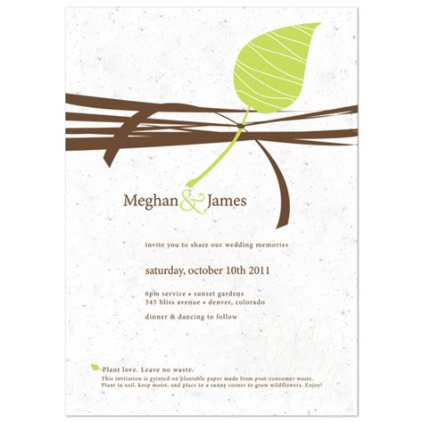 Wedding Invitations Seeded Paper by Plantable Wedding Invitations Seed Paper Favors Eco