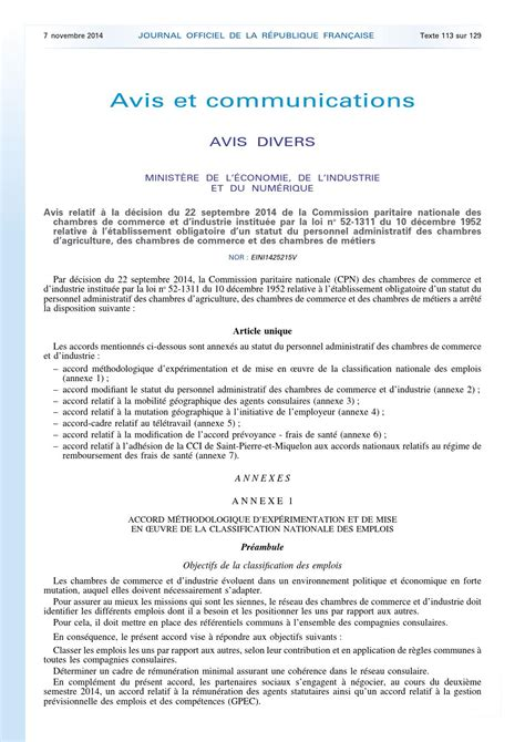 Statut Du Personnel Des Chambres De Commerce Et D Industrie by Jo Accord Cpn 22 09 2014 By Fr 233 D 233 Ric Petit Issuu