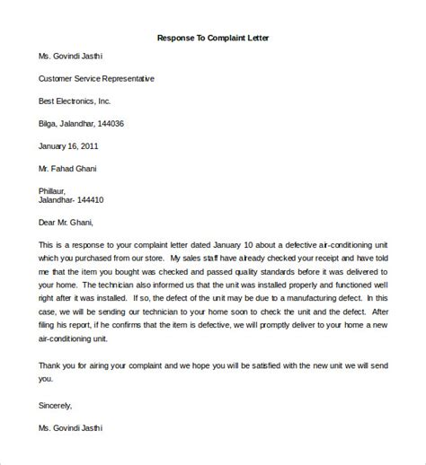 replying to a complaint letter template replying to a complaint letter template free complaint