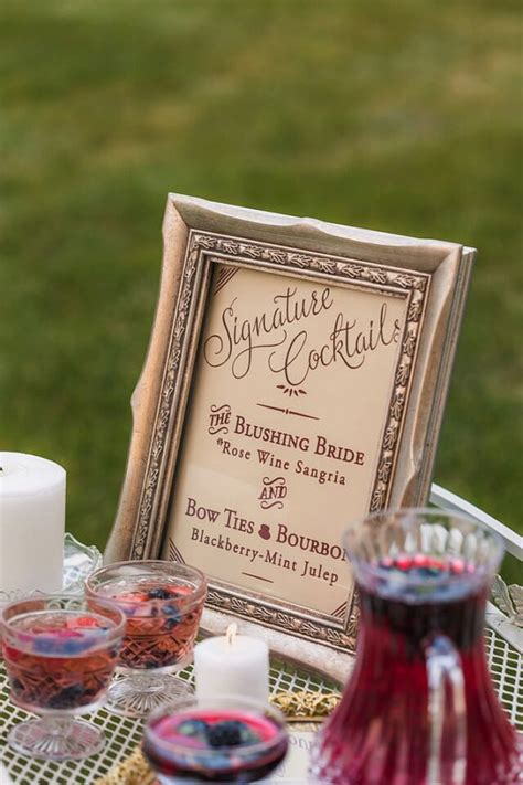 signature drink sign marsala cocktail signs gold wedding