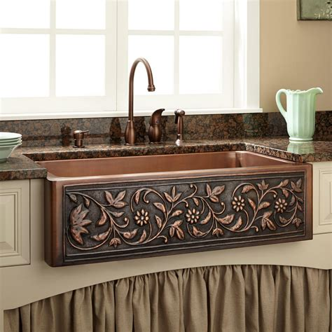 Copper Sinks Kitchen 33 Quot Vine Design Copper Farmhouse Sink Kitchen