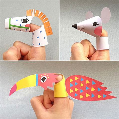 How To Make Paper Finger Puppets - paper animals all for the boys