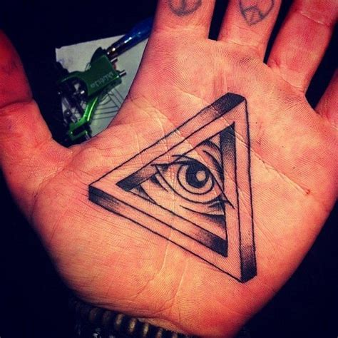 small illuminati tattoos black ink illuminati eye on palm