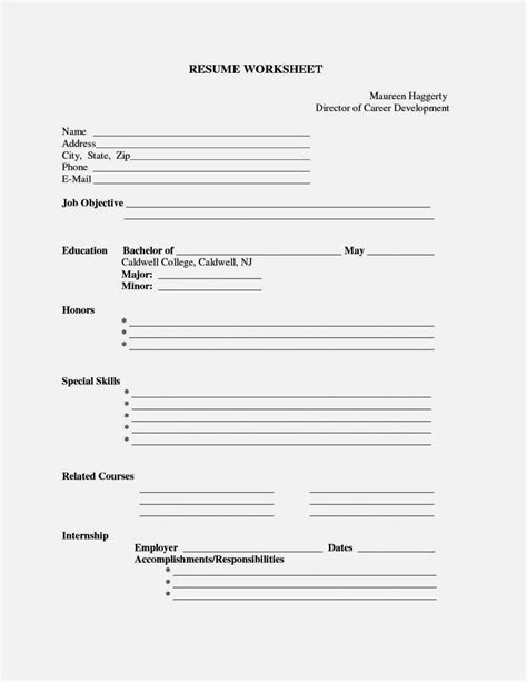 Fill In Resume Template by Fill In Blank Resume Templates Free Resume Template