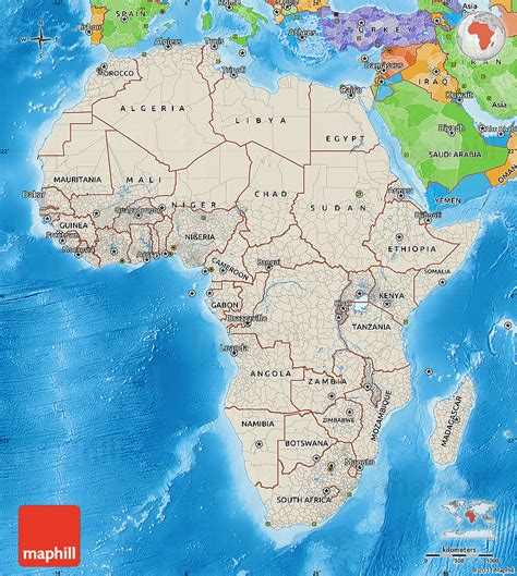 africa map sea shaded relief map of africa political outside shaded