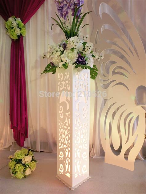 wedding carved pillar hollow stand  led light double