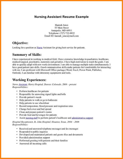 resume template for nursing assistant cna resume cna resumed