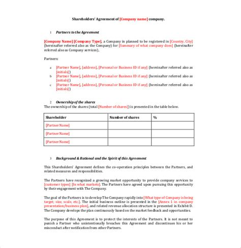template shareholders agreement shareholder agreement templates 9 free word pdf