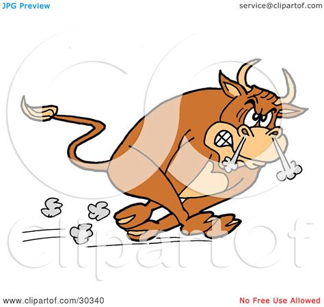 clipart illustration of a raging brown charging bull