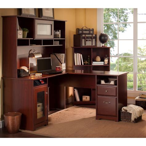l shaped desk with bookcase amazon com cabot l shaped desk with hutch and 6 cube