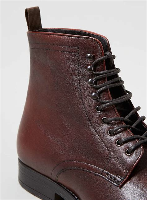 burgundy leather boots topman burgundy leather lace up boots in for lyst
