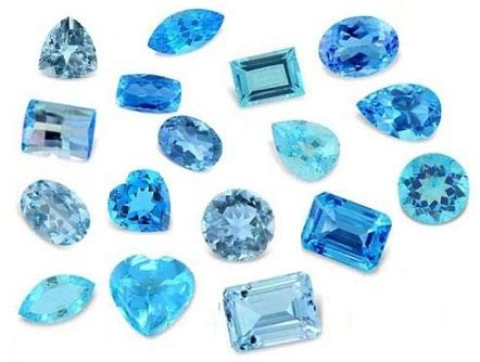different colours of blue gemstones with names and pictures