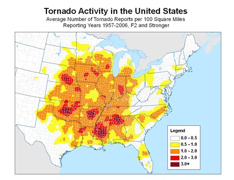 tornado map tornado frequency map ibhs disastersafety