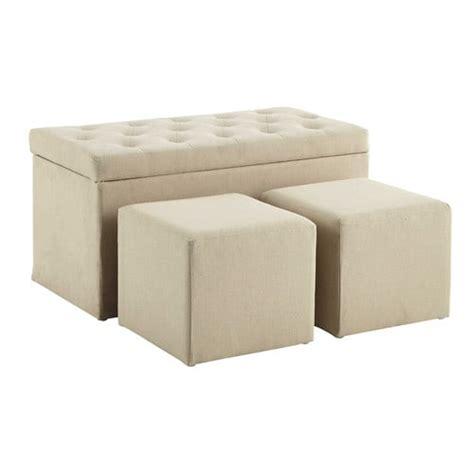 coffre banc 2 poufs en coton beige l 79 cm marceau