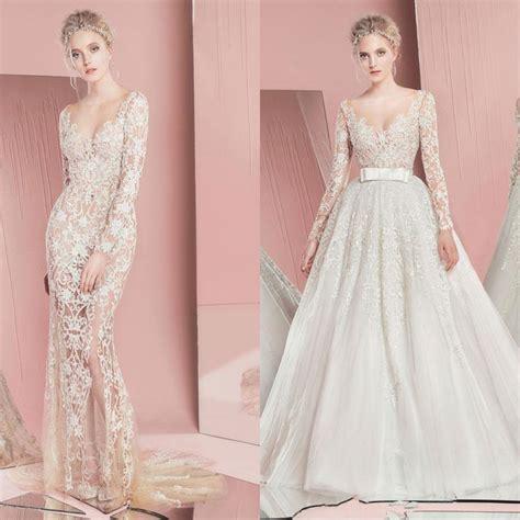 lace sheer wedding gowns zuhair murad mermaid wedding dresses 2016 sheer scoop neck