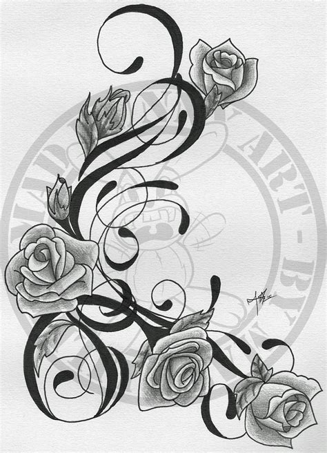 tattoo rose designs legs and vines tattoos trible vine and roses by