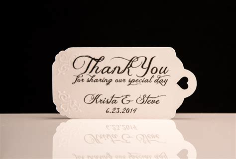 Wedding Favor Tags by Wedding Favor Tags Embossed Personalized Thank You