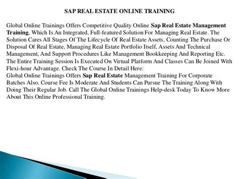 sap refx tutorial sap real estate training sap refx training global