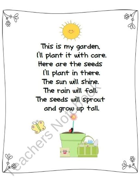 Garden Poems by Planting Seeds Poem Freebie From Creative Lesson Cafe On
