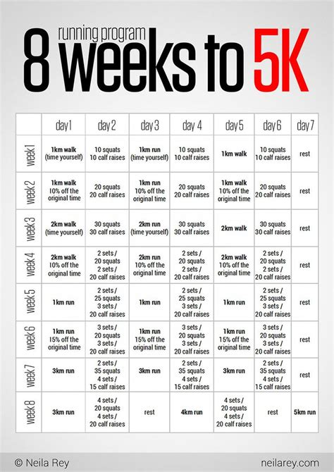 couch to 5k training calendar fitness 8 week 5k training plan fitness walktorun
