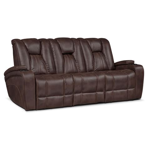 Powered Recliner Sofa Pulsar Dual Power Reclining Sofa Brown Value City Furniture