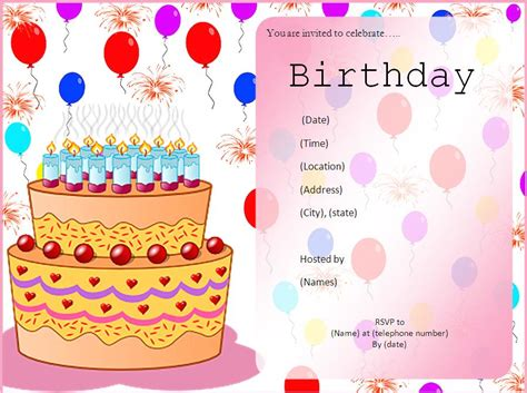 birthday invitation card template birthday invitation templates free word s templates